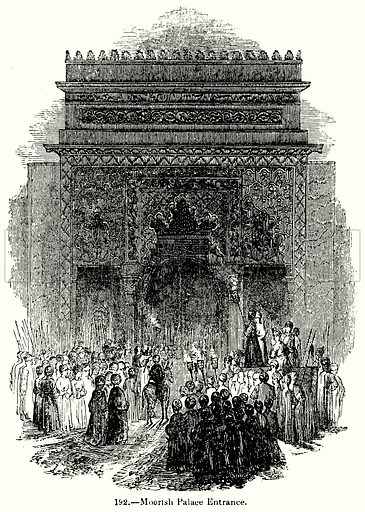 Moorish Palace Entrance. Illustration for Knight's Pictorial Gallery of Arts (London Printing and Publishing, c 1860).