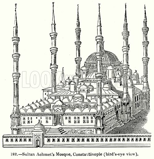 Sultan Achmet's Mosque, Constautinople (Bird's-Eye View). Illustration for Knight's Pictorial Gallery of Arts (London Printing and Publishing, c 1860).