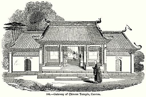 Gateway of Chinese Temple, Canton. Illustration for Knight's Pictorial Gallery of Arts (London Printing and Publishing, c 1860).