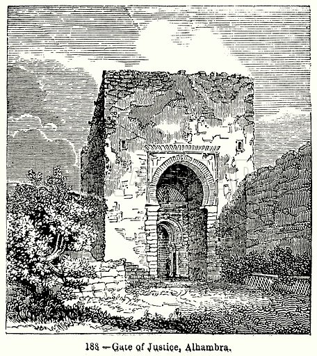 Gate of Justice, Alhambra. Illustration for Knight's Pictorial Gallery of Arts (London Printing and Publishing, c 1860).