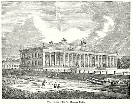 Portico of the New Museum, Berlin. Illustration for Knight's Pictorial Gallery of Arts (London Printing and Publishing, c 1860).