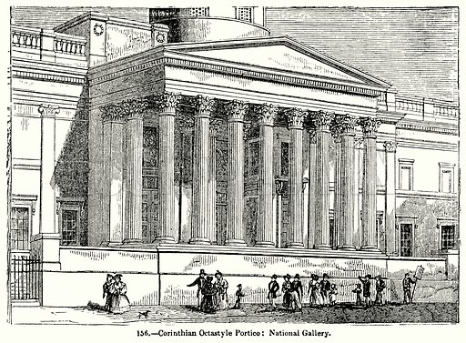 Corinthian Octastyle Portico: National Gallery. Illustration for Knight's Pictorial Gallery of Arts (London Printing and Publishing, c 1860).