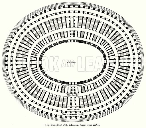 Groundplan of the Colosseum, Rome; when perfect. Illustration for Knight's Pictorial Gallery of Arts (London Printing and Publishing, c 1860).