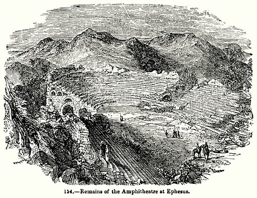 Remains of the Amphitheatre at Ephesus. Illustration for Knight's Pictorial Gallery of Arts (London Printing and Publishing, c 1860).