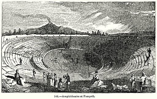 Amphitheatre at Pompeii. Illustration for Knight's Pictorial Gallery of Arts (London Printing and Publishing, c 1860).