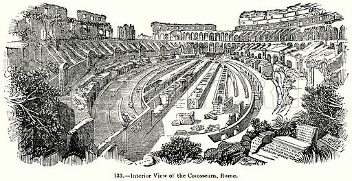 Interior View of the Colosseum, Rome. Illustration for Knight's Pictorial Gallery of Arts (London Printing and Publishing, c 1860).