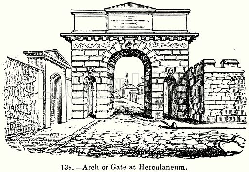 Arch or Gate at Herculaneum. Illustration for Knight's Pictorial Gallery of Arts (London Printing and Publishing, c 1860).