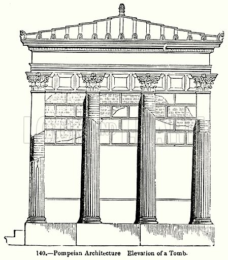 Pompeian Architecture Elevation of a Tomb. Illustration for Knight's Pictorial Gallery of Arts (London Printing and Publishing, c 1860).