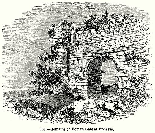 Remains of Roman Gate at Ephesus. Illustration for Knight's Pictorial Gallery of Arts (London Printing and Publishing, c 1860).