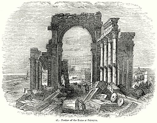 Portion of the Ruins at Palmyra. Illustration for Knight's Pictorial Gallery of Arts (London Printing and Publishing, c 1860).