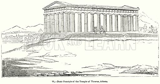 Doric Peristyle of the Temple of Theseus, Athens. Illustration for Knight's Pictorial Gallery of Arts (London Printing and Publishing, c 1860).