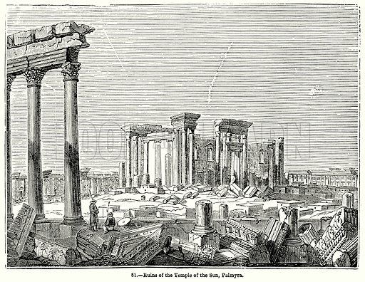 Ruins of the Temple of the Sun, Palmyra. Illustration for Knight's Pictorial Gallery of Arts (London Printing and Publishing, c 1860).
