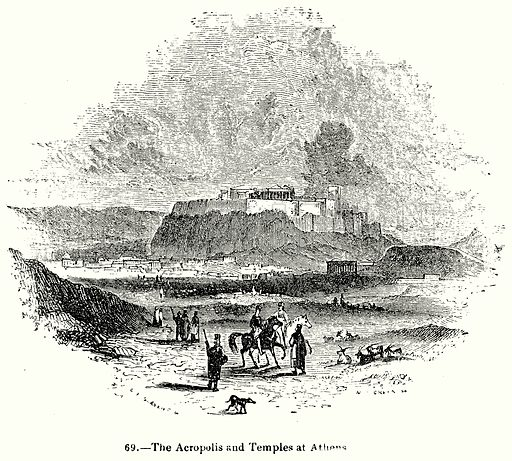 The Acropolis and Temples and Athens. Illustration for Knight's Pictorial Gallery of Arts (London Printing and Publishing, c 1860).