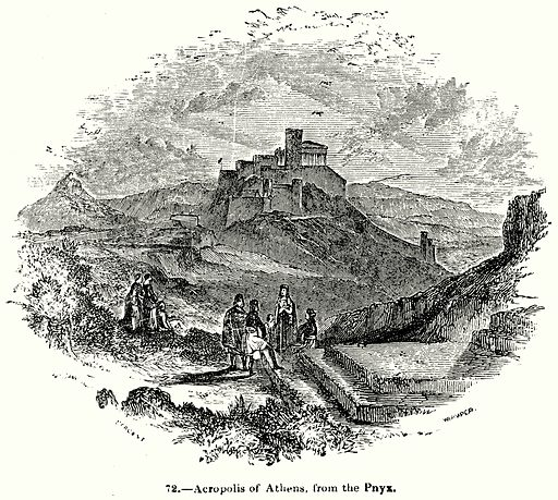 Acropolis of Athens, from the Pnyx. Illustration for Knight's Pictorial Gallery of Arts (London Printing and Publishing, c 1860).