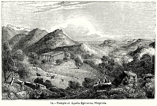 Temple of Apollo Epicurius, Phigaleia. Illustration for Knight's Pictorial Gallery of Arts (London Printing and Publishing, c 1860).