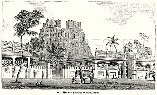 Hindoo Temple at Ramiseram. Illustration for Knight's Pictorial Gallery of Arts (London Printing and Publishing, c 1860).
