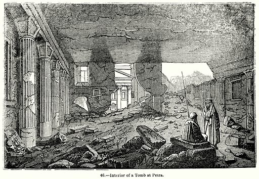 Interior of a Tomb at Petra. Illustration for Knight's Pictorial Gallery of Arts (London Printing and Publishing, c 1860).