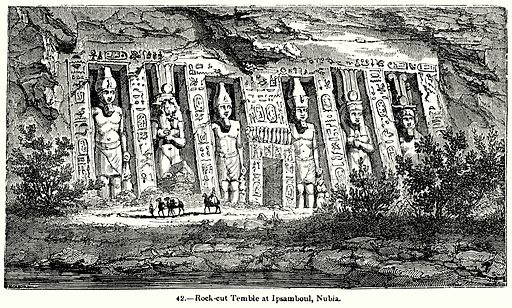 Rock-Cut Temble at Ipsamboul, Nubia. Illustration for Knight's Pictorial Gallery of Arts (London Printing and Publishing, c 1860).