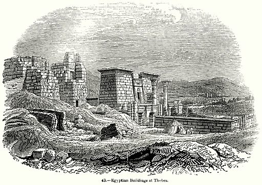 Egyptian Buildings at Thebes. Illustration for Knight