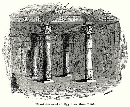 Interior of an Egyptian Monument. Illustration for Knight's Pictorial Gallery of Arts (London Printing and Publishing, c 1860).