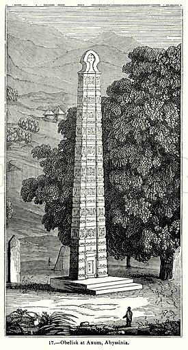 Obelisk at Axum, Abyssinia. Illustration for Knight's Pictorial Gallery of Arts (London Printing and Publishing, c 1860).