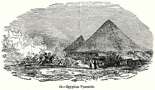 Egyptian Pyramids. Illustration for Knight's Pictorial Gallery of Arts (London Printing and Publishing, c 1860).
