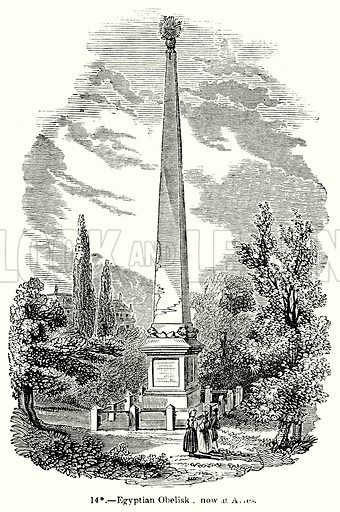 Egyptian Obelisk, new at Aries. Illustration for Knight's Pictorial Gallery of Arts (London Printing and Publishing, c 1860).