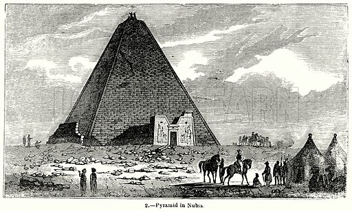 Pyramid in Nubia. Illustration for Knight's Pictorial Gallery of Arts (London Printing and Publishing, c 1860).