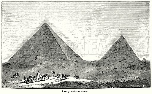 Pyramids of Jizeh. Illustration for Knight's Pictorial Gallery of Arts (London Printing and Publishing, c 1860).