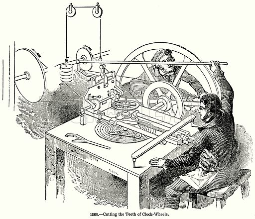 Cutting the Teeth of Clock-Wheels. Illustration for Knight's Pictorial Gallery of Arts (London Printing and Publishing, c 1860).