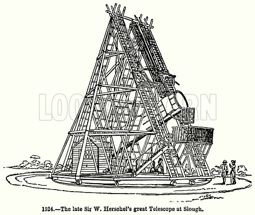 The Late Sir W Herschel's Great Telescope at Slough. Illustration for Knight's Pictorial Gallery of Arts (London Printing and Publishing, c 1860).