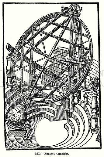 Ancient Astrolabe. Illustration for Knight's Pictorial Gallery of Arts (London Printing and Publishing, c 1860).