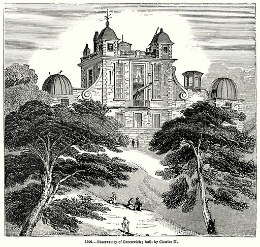 Observatory of Greenwich; built by Charles II. Illustration for Knight's Pictorial Gallery of Arts (London Printing and Publishing, c 1860).