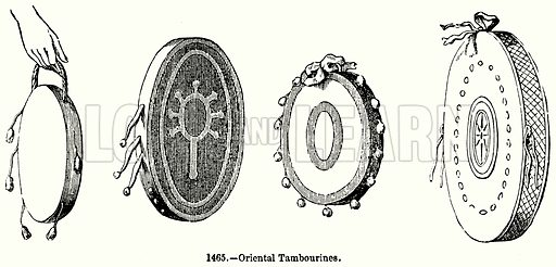 Oriental Tambourines. Illustration for Knight's Pictorial Gallery of Arts (London Printing and Publishing, c 1860).