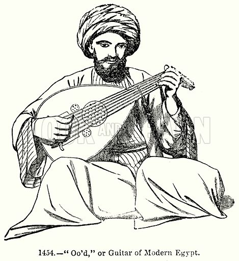 """""""Oo'd,"""" or Guitar of Modern Egypt. Illustration for Knight's Pictorial Gallery of Arts (London Printing and Publishing, c 1860)."""