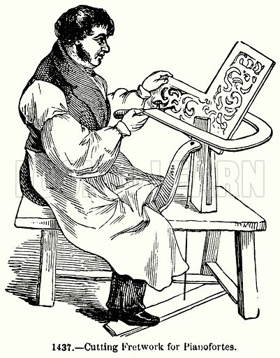 Cutting Fretwork for Pianofortes. Illustration for Knight's Pictorial Gallery of Arts (London Printing and Publishing, c 1860).