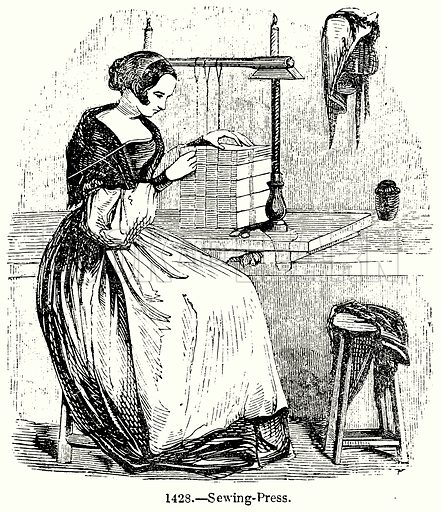 Sewing-Press. Illustration for Knight's Pictorial Gallery of Arts (London Printing and Publishing, c 1860).