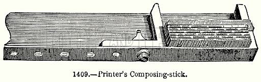 Printer's Composing-Stick. Illustration for Knight's Pictorial Gallery of Arts (London Printing and Publishing, c 1860).