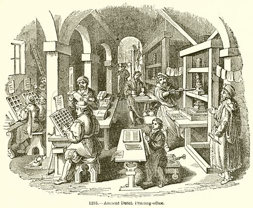 Ancient Dutch Printing-Office. Illustration for Knight's Pictorial Gallery of Arts (London Printing and Publishing, c 1860).