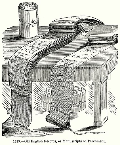 Old English Records, or Manuscripts on Parchment. Illustration for Knight's Pictorial Gallery of Arts (London Printing and Publishing, c 1860).