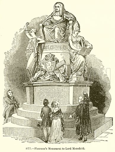 Flaxman's Monument to Lord Mansfield. Illustration for Knight's Pictorial Gallery of Arts (London Printing and Publishing, c 1860).