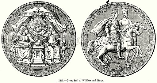 Great Seal of William and Mary. Illustration for Knight's Pictorial Gallery of Arts (London Printing and Publishing, c 1860).
