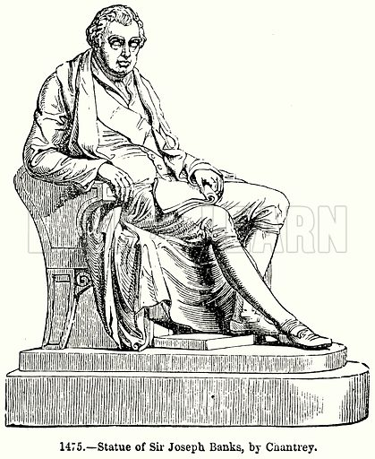 Statue of Sir Joseph Banks, by Chantrey. Illustration for Knight's Pictorial Gallery of Arts (London Printing and Publishing, c 1860).