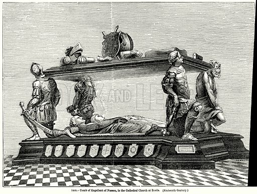 Tomb of Engelbert of Nassau, in the Cathedral Church at Breda. (Sixteenth Century.) Illustration for Knight's Pictorial Gallery of Arts (London Printing and Publishing, c 1860).