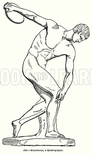 Discoboius, a Quoit-Player. Illustration for Knight's Pictorial Gallery of Arts (London Printing and Publishing, c 1860).