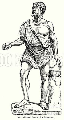Roman Statue of a Fisherman. Illustration for Knight's Pictorial Gallery of Arts (London Printing and Publishing, c 1860).