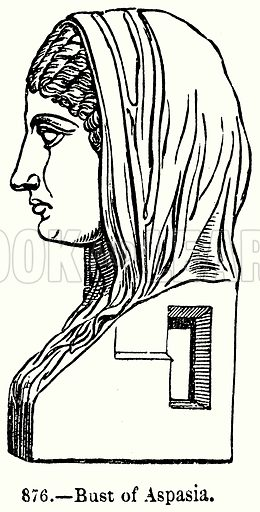 Bust of Aspasia. Illustration for Knight's Pictorial Gallery of Arts (London Printing and Publishing, c 1860).