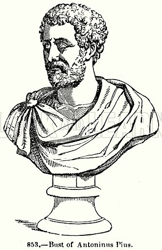 Bust of Antoninus Pius. Illustration for Knight's Pictorial Gallery of Arts (London Printing and Publishing, c 1860).