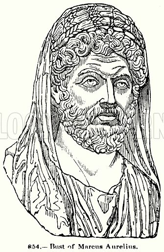 Bust of Marcus Aurelius. Illustration for Knight's Pictorial Gallery of Arts (London Printing and Publishing, c 1860).