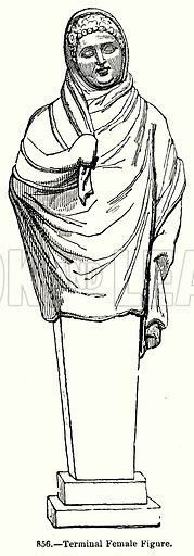 Terminal Female Figure. Illustration for Knight's Pictorial Gallery of Arts (London Printing and Publishing, c 1860).